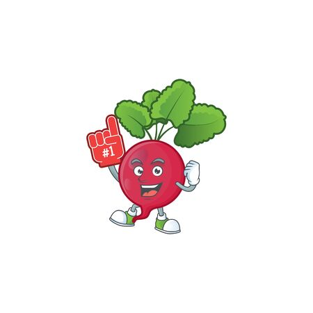 Funny red radish mascot cartoon style with Foam finger. Vector illustration