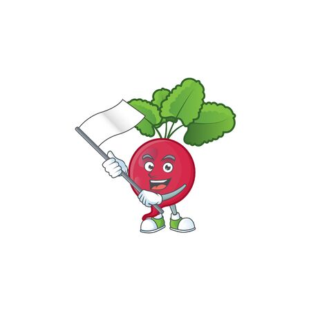 cute red radish cartoon character design holding a flag. Vector illustration Ilustração