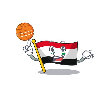 An icon of flag syria Scroll cartoon character playing basketball. Vector illustration