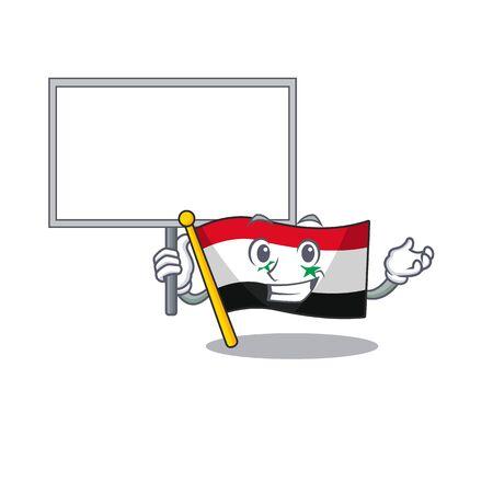 Flag syria Scroll cute cartoon character bring a board. Vector illustration