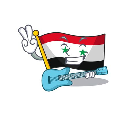 Supper cool flag syria Scroll cartoon performance with guitar. Vector illustration