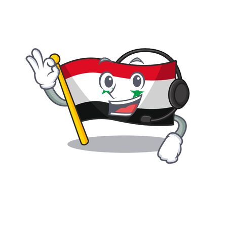 cute flag syria Scroll cartoon character design wearing headphone. Vector illustration