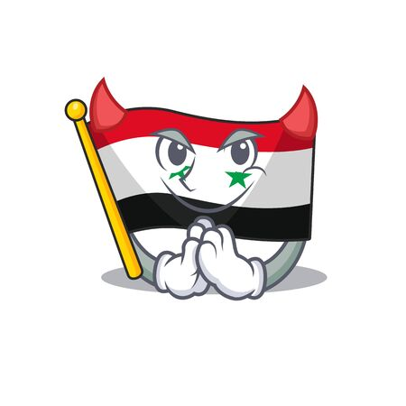 Devil Cartoon character of flag syria Scroll design. Vector illustration