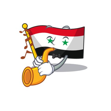 Flag syria Scroll cartoon character design performance with trumpet. Vector illustration