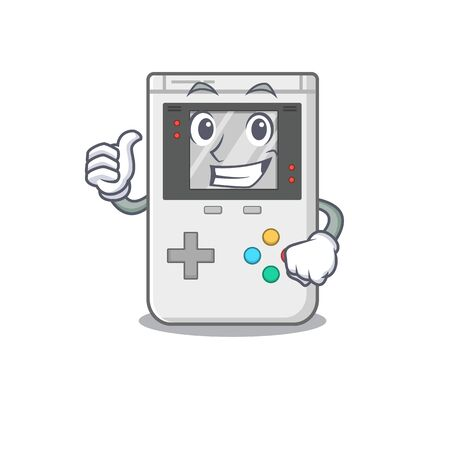 Smiley mascot of handheld game Scroll making Thumbs up gesture. Vector illustration
