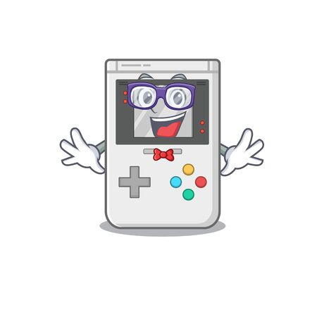 Super Funny Geek handheld game Scroll cartoon character design. Vector illustration