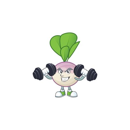 Fitness exercise turnip mascot icon with barbells. Vector illustration Ilustrace