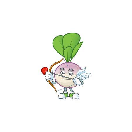 cartoon character of turnip Cupid having arrow and wings. Vector illustration Ilustrace