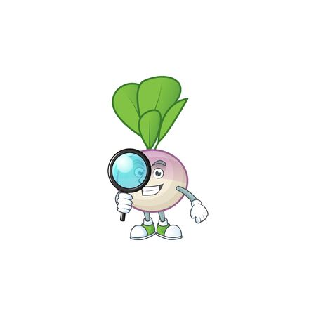 Smart One eye turnip Detective cartoon character design Ilustrace