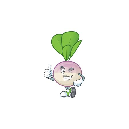 cartoon character of turnip making Thumbs up gesture. Vector illustration