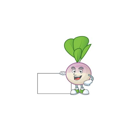 cute turnip cartoon character with a board. Vector illustration