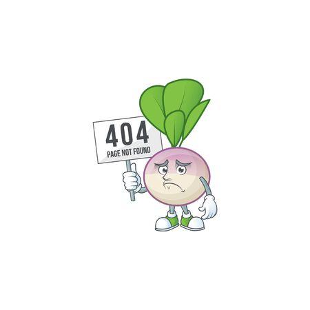 sad face cartoon character turnip raised up a board. Vector illustration