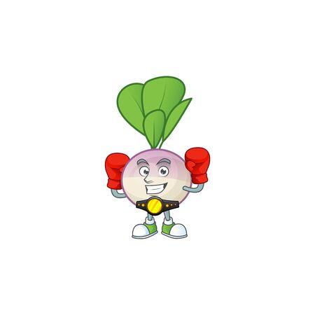 Funny Face Boxing turnip cartoon character design. Vector illustration