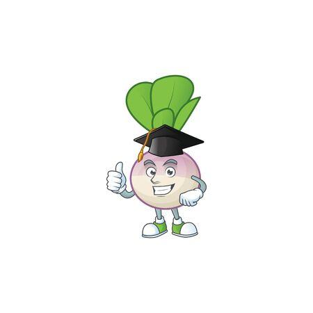 Happy turnip wearing a black Graduation hat. Vector illustration Ilustrace