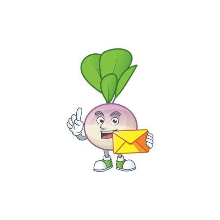 Cheerful a turnip mascot cartoon with envelope. Vector illustration Ilustrace