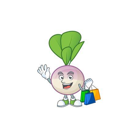 Cheerful turnip mascot waving and holding Shopping bags. Vector illustration