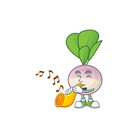 Cheerful turnip cartoon character performance with trumpet. Vector illustration
