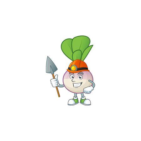 Cool Miner turnip cartoon character design style. Vector illustration