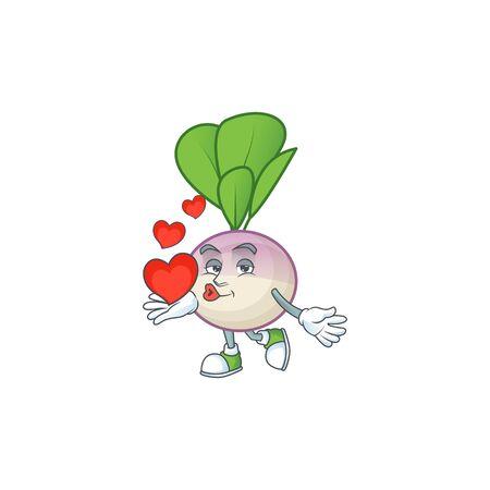 Happy turnip cartoon character mascot with heart. Vector illustration Ilustrace
