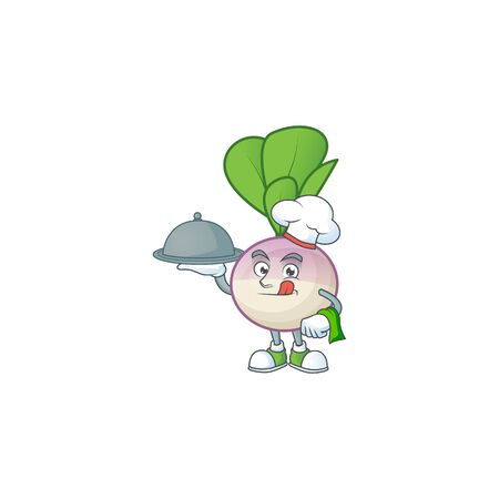 Cute turnip as a Chef with hat and tray cartoon style design. Vector illustration Ilustrace
