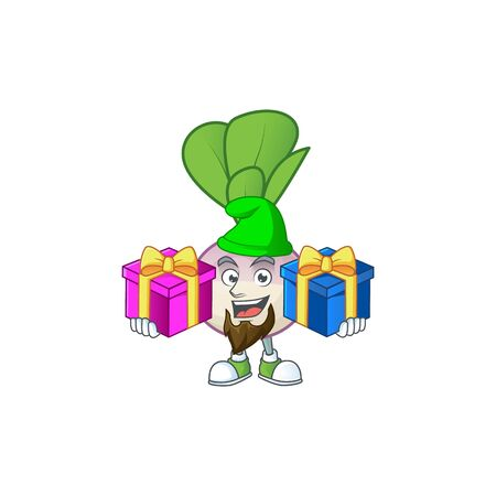 Cheerful turnip cartoon design with Christmas gift boxes. Vector illustration Ilustrace