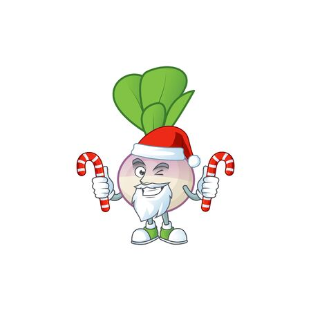 Turnip Cartoon character in Santa Claus with candy. Vector illustration