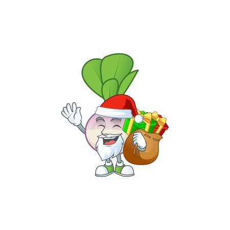 Santa Claus with gift bag turnip Cartoon design. Vector illustration Ilustrace
