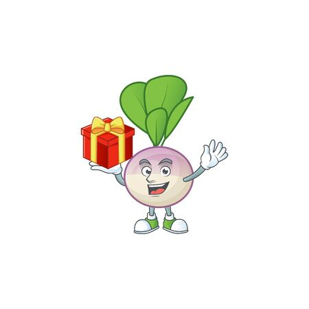 Turnip cartoon character with a box of gift. Vector illustration