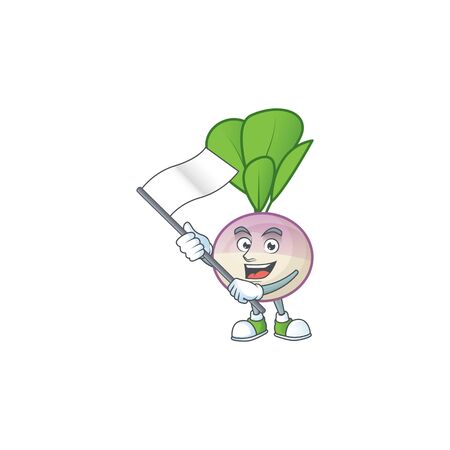 cute turnip cartoon character design holding a flag. Vector illustration