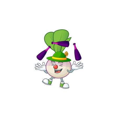 Cute and cool Juggling turnip cartoon character. Vector illustration Ilustrace