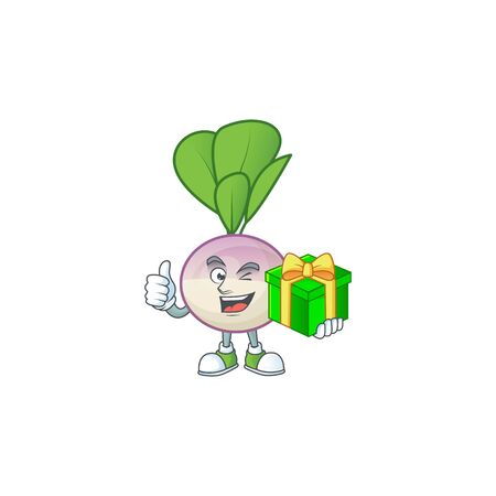 cartoon character of happy turnip with gift box. Vector illustration