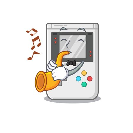 Handheld game Scroll cartoon character design performance with trumpet. Vector illustration