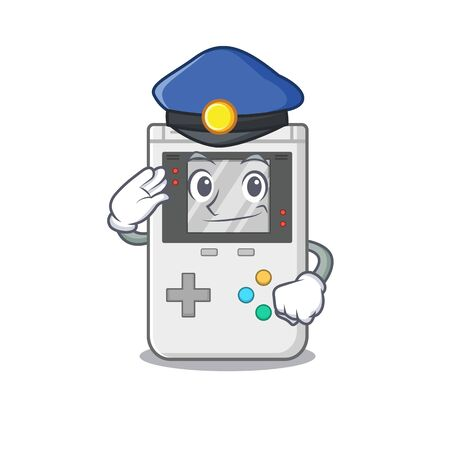 Handheld game Scroll Cartoon mascot style as a Police officer. Vector illustration