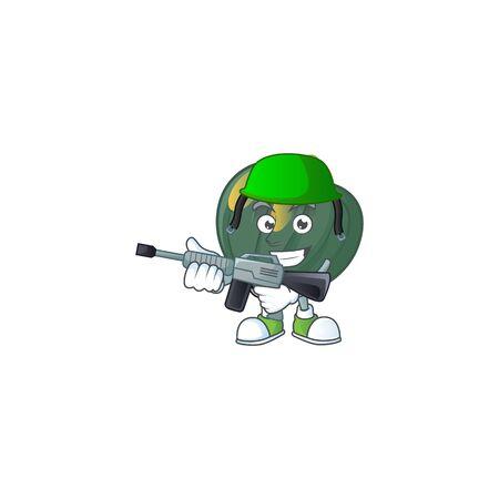 A mascot of acorn squash as an Army with machine gun. Vector illustration