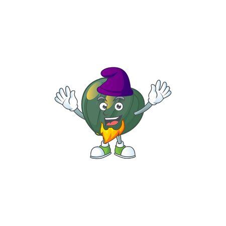 Acorn squash mascot cartoon style as an Elf. Vector illustration