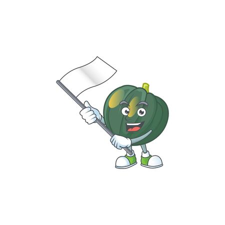 cute acorn squash cartoon character design holding a flag. Vector illustration