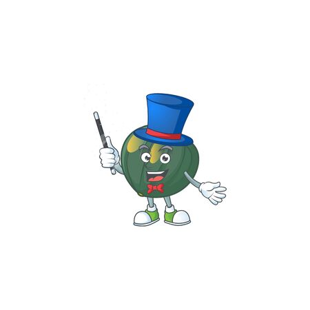 Cartoon character of acorn squash performance as a Magician. Vector illustration