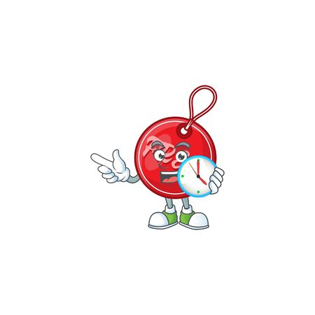 Round christmas free tag with character with bring clock vector illustration