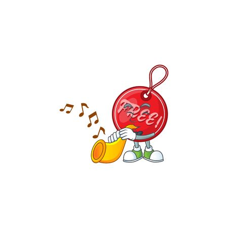 Character with trumpet in christmas free tag cartoon