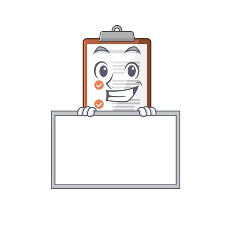 Clipboard Scroll cartoon character style grinning with board. Vector illustration Vector Illustration
