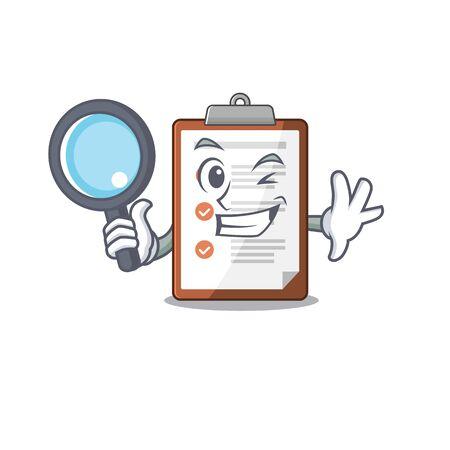 Smart clipboard Scroll Detective cartoon character design. Vector illustration Illustration
