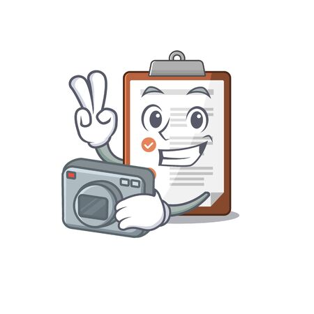 a professional Photographer clipboard Scroll mascot style with a camera. Vector illustration Stock Illustratie