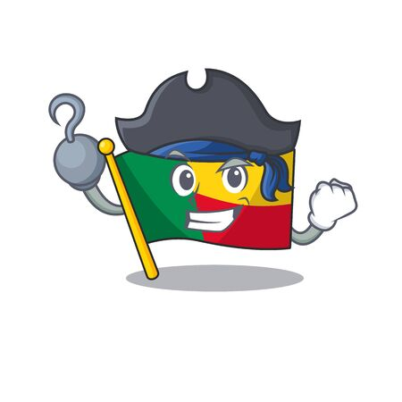 one hand Pirate flag benin Scroll cartoon style with hat. Vector illustration Ilustrace