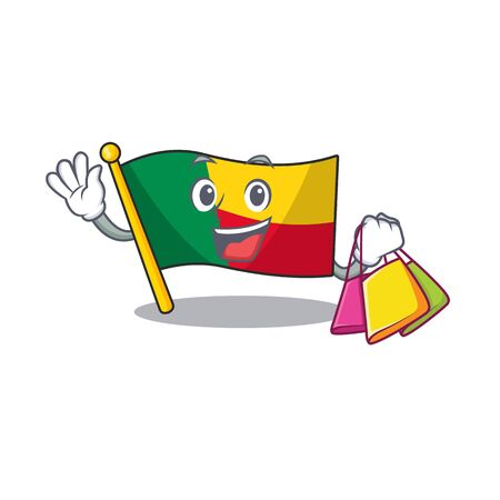 Happy face flag benin Scroll mascot style waving and holding Shopping bag. Vector illustration