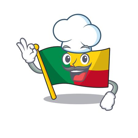 Funny Chef flag benin Scroll cartoon character wearing white hat. Vector illustration