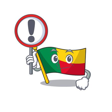 Cartoon design of flag benin Scroll raised up a sign. Vector illustration