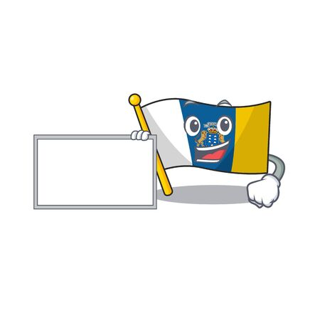 Flag canary island Scroll with board cartoon mascot design style. Vector illustration Vettoriali