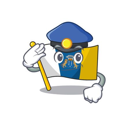Flag canary island Scroll Cartoon mascot style as a Police officer. Vector illustration