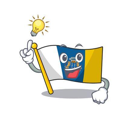 Tener una idea de diseño de personajes de dibujos animados de desplazamiento de la bandera de las islas Canarias. Ilustración vectorial