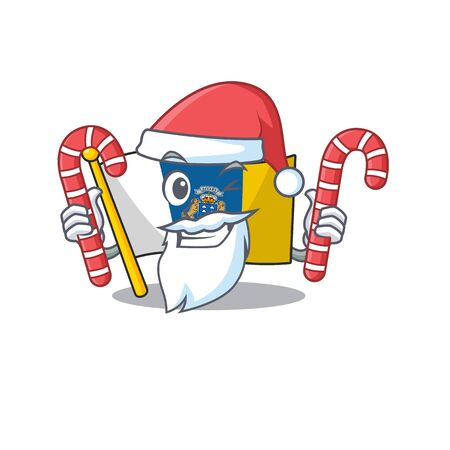Happy flag canary island Scroll Cartoon character in Santa with candy. Vector illustration